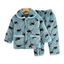 Children Pajamas Warm Thick Cotton Winter Suit Modern Set Sleepwear/Nightwear Clothes for Home, D