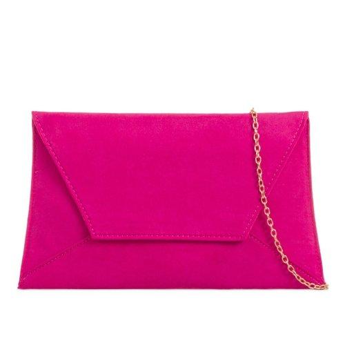 Pink Clutch Bag Cerise Faux Suede Envelope Shoulder Bag Handbag