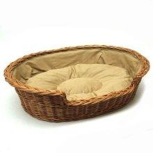 Large Medium Willow Dog Cat Pet Wicker Basket Light Colour Cushion