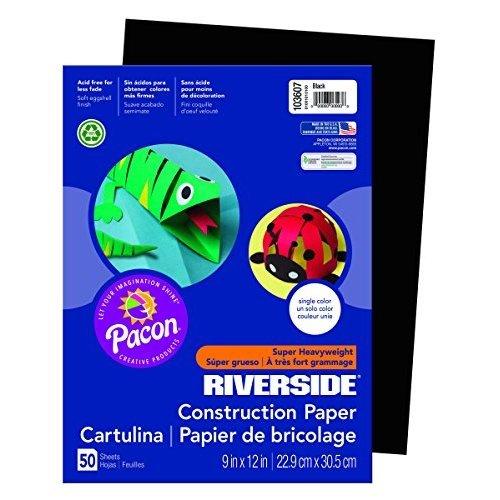 Riverside 103607 Construction Paper 76 lb 0 5 Height 9 Width 12 Length Black Pack of 50