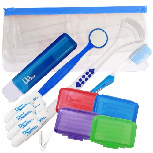 Braces Starter Kit ~ Orthodontic Toothbrushes, Wax & More (Blue)