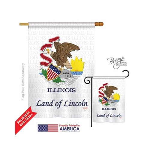 Breeze Decor 08113 States Illinois 2-Sided Vertical Impression House Flag - 28 x 40 in.