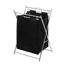 Stylish Laundry Bag Black Polyester Chrome Frame