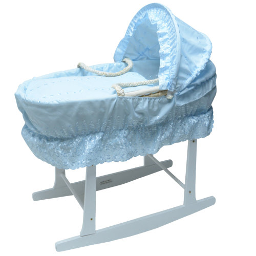 Broderie Anglaise Moses Basket With White Rocking Stand Blue