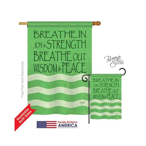 Breeze Decor 00058 Welcome Breathe In 2-Sided Vertical Impression House Flag - 28 x 40 in.