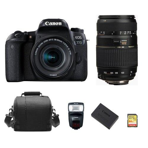 CANON 77D 18-55mm IS STM+TAMRON 70-300mm+64Gcard+Bag+Battery+Speedlite