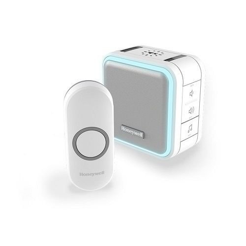 Wireless Portable Doorbell with Halo Light, Sleep Mode and Push Button – White