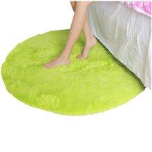 "Nonabrasive Round Chair Mats Light Green Fuzzy Durable Chair Carpet 31*31"""