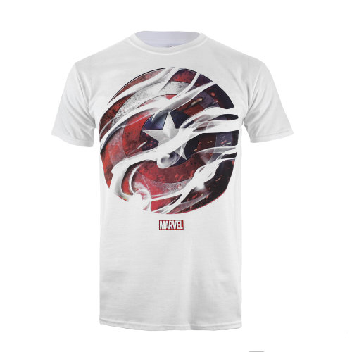 Marvel CA Smoke Shield Mens T-shirt White