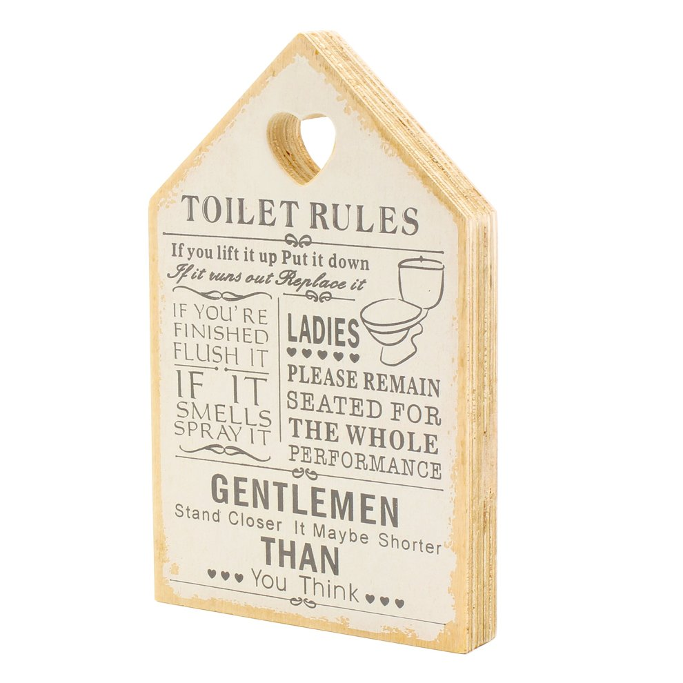 Leonardo Wooden Signs Shabby Chic Toilet Rules Novelty Hanging Bathroom  White Plaque, Wooden Funny Toilet Signs for Wall or Door - Ideal Toilet
