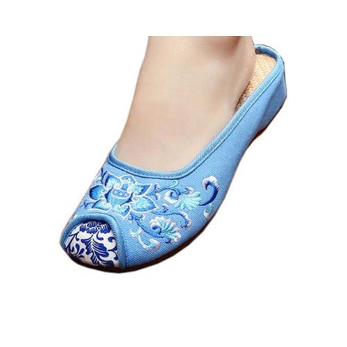 Womens Embroidered Summer Slippers Wedges Sandals Shoes for Cheongsam, #08