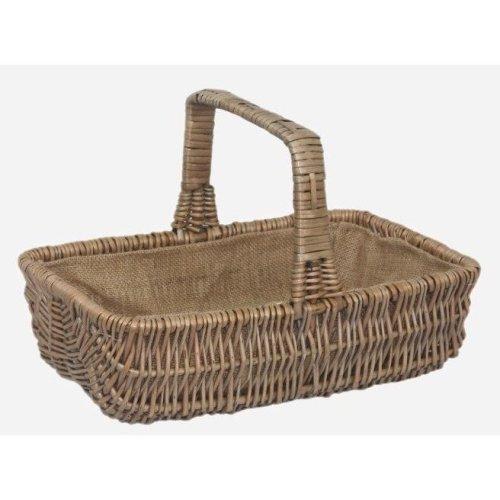 Wicker Rectangular Garden Basket Trug Medium
