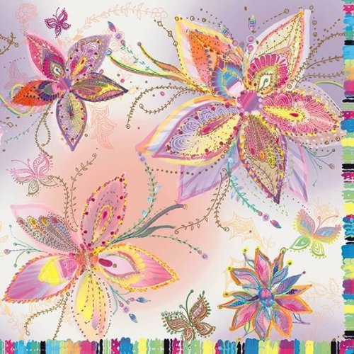 4 x Paper Napkins - Silver Moon Flowers - Ideal for Decoupage / Napkin Art