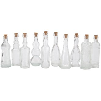 "Glass Bottle Assortment 5""-Clear"
