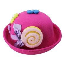 Cute Baby Woolen Hat Children Bucket Hat Bowler Hat Candy Rose