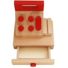 Obique Children's Wooden Toy Cash Register or Till, Beech Wood Light