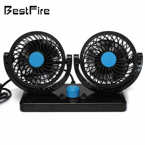 BestFire 360 Rotating Free Adjustment Dual Head Car Auto Cooling Air Fan Powerful Quiet 2 Speed Rotatable 12V Ventilation Dashboard Electric Car...