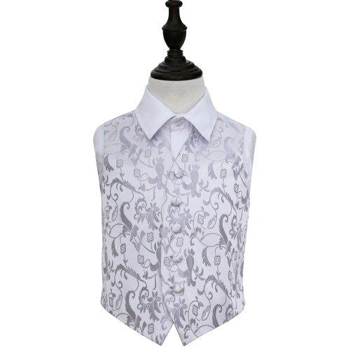 Silver Floral Wedding Waistcoat for Boys 32'