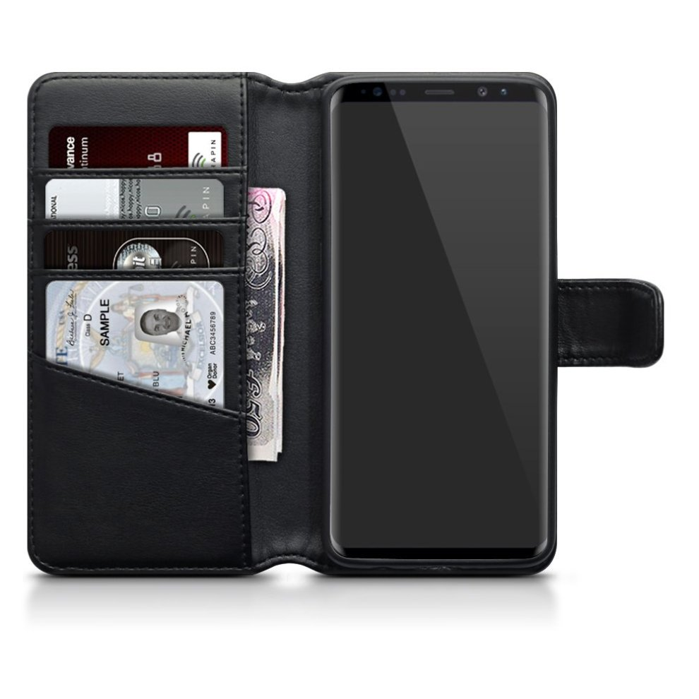 new arrival 346cb ce154 TERRAPIN Samsung S9 Case Samsung Galaxy S9 Leather Case - GENUINE LEATHER -  Executive Folio Wallet Cover Flip - Viewing Stand - Card Slots - Bill...