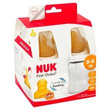Nuk 150ml Bottles With Rubber Teats 0-6 Mths 4 Pack