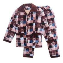 Men Pajamas Warm Thick Cotton Winter Suit Modern Set Sleepwear/Nightwear Clothes for Home, C9