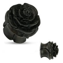 Urban Male Black Organic Wooden Rose Flesh Plug Hand Carved & Double Flared 14mm