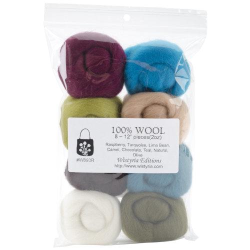 "Wistyria Editions Wool Roving 12"" .25oz 8/Pkg-Chic"