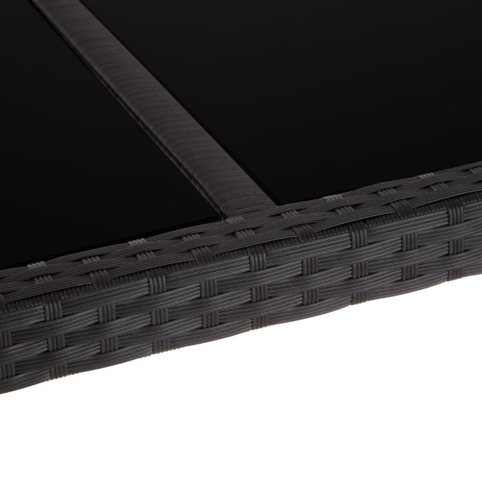 Rattan garden furniture set Lissabon 6+1 with protective cover - black