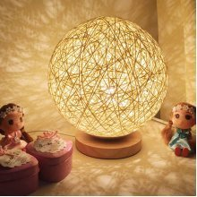 Rattan Ball Night Light Table Bedside Lamp