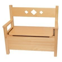 Obique Furniture Bench & Storage Toy Box Solid Pine Wood, Natural