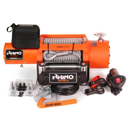 Rhino Electric Winch 24v Heavy Duty Recovery 20,000lb - Two Wireless Remotes