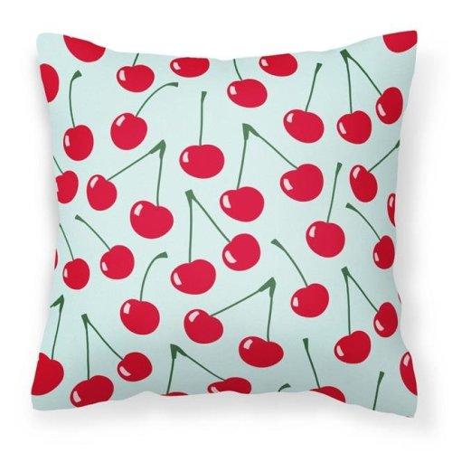 Carolines Treasures BB5148PW1414 Cherries on Blue Fabric Decorative Pillow - 14 x 3 x 14 in.