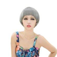 Classic Stylish Short Straight Healthy Hair Wigs Human Hair Full Wigs Grey