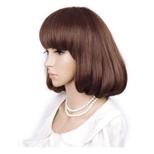 High Quality Fashion Sweet Wig Short Hair Natural Bob Light Brown+Wig Cap+Comb