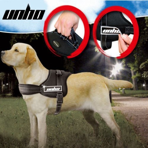 UNHO No Pull Harness Dog Lead Padded Pet Walking Harness Heavy Duty for German Shepherd Doberman Pitbull Chest 70-90cm Black L