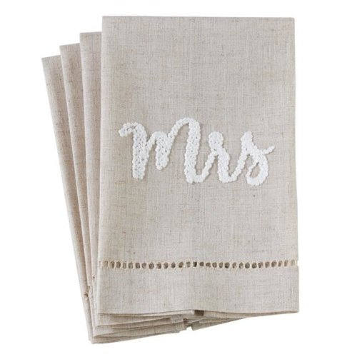 Saro Lifestyle 516.N1422 14 x 22 in. Poly Blend Mrs Hemstitch Guest Towels - Natural, Set of 4