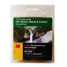 Kodak Remanufactured HP302XL Black & Colour Inkjet Ink, Combo Pack, 33ml