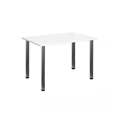 Computer Desk Office Dining Table Workstation Silver Legs White Top 120x80cm