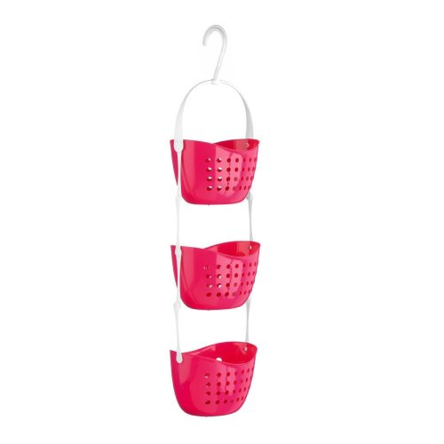 3 Tier Plastic Shower Caddy Bath Rack Hanging Basket Unit Shower Tidy Organiser Pink