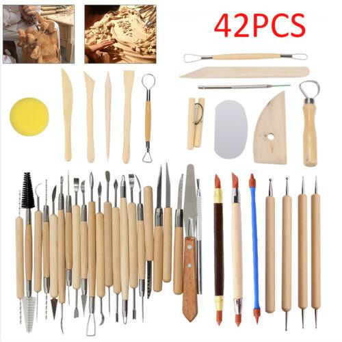 42PCS Polymer Clay Sculpting Tool Set Wood Models Art Projects Pottery Tools Set