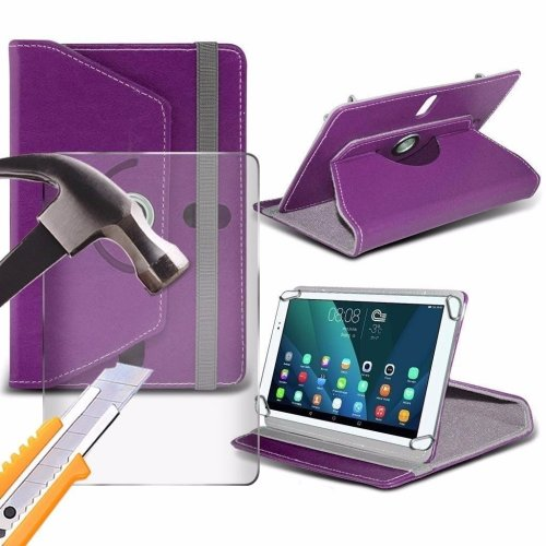 Itronixs - Amicroe Touchtab Iv (9.7 Inch) Tablet Case Premium Pu 360 Rotating Leather Wallet with Tempered Glass Lcd Screen Protector Guard