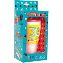 Simon Elvin Keepsakes Milestone Age Beer Glass - 30th - Birthday Gift Happy -  birthday glass 30th beer gift happy celebration rocks