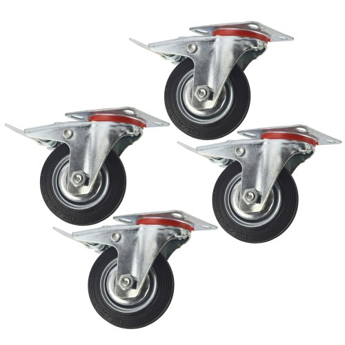 """4"""" (100mm) Rubber Swivel With Brake Castor Wheels Trolley Caster (4 Pack) CST05"""