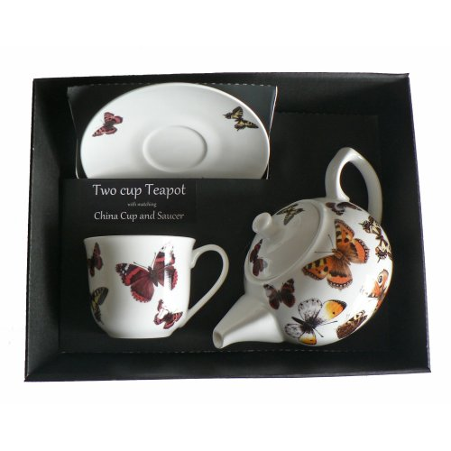 Butterfly Teapot cup & saucer gift set - Porcelain teapot,china cup & saucer in box