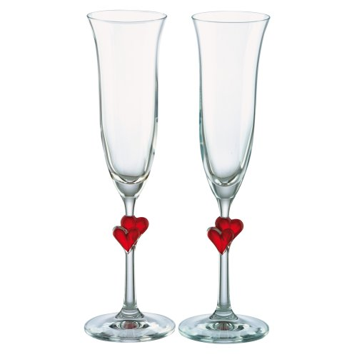 Stolzle L'Amour Red Heart Champagne Flutes Set of 2