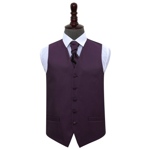 Cadbury Purple Greek Key Wedding Waistcoat & Cravat Set 50'