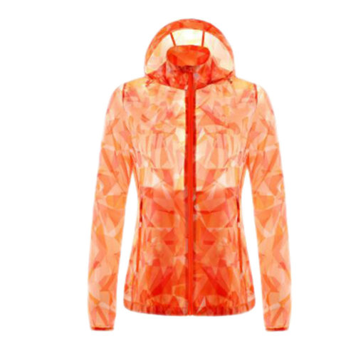 Outdoor Waterproof Sun Protective Clothing Cycling Climbing Long Sleeve Shirts Raincoat-Orange