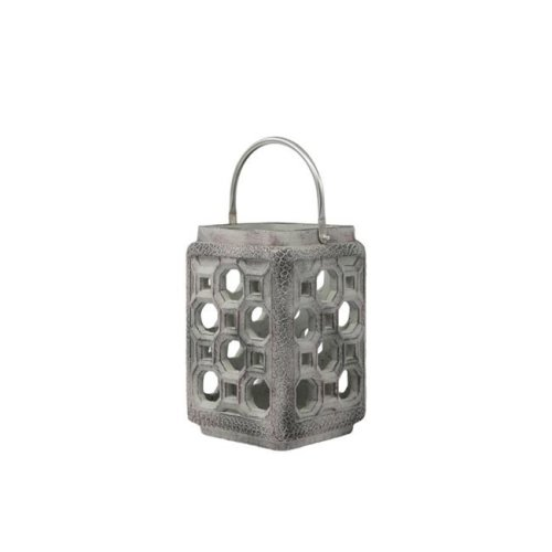 Urban Trends Collection 35769 Cement Square Lantern with Screwed Metal Top Handle & Multiple Holes Design Body, Washed Gray - Large
