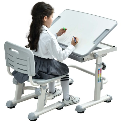 Height Adjustable Kids Desk Chair Ergonomic Children Table - Mini Grey