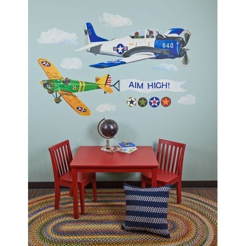 Oopsy daisy Airplanes Peel and Place Childrens Wall Decals by Jill Pabich 54 by 60 Inch